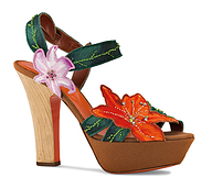 描述 A41570 Embroidered satin platform sandal with floral details and crystal embellishments, heel 8,5 cm