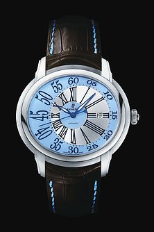 描述 Selfwinding watch with date display and centre seconds. 18-carat white gold case, blue dial, brown strap. Availability to be confirmed.